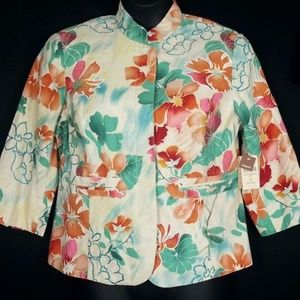 New Coldwater Creek linen floral jacket